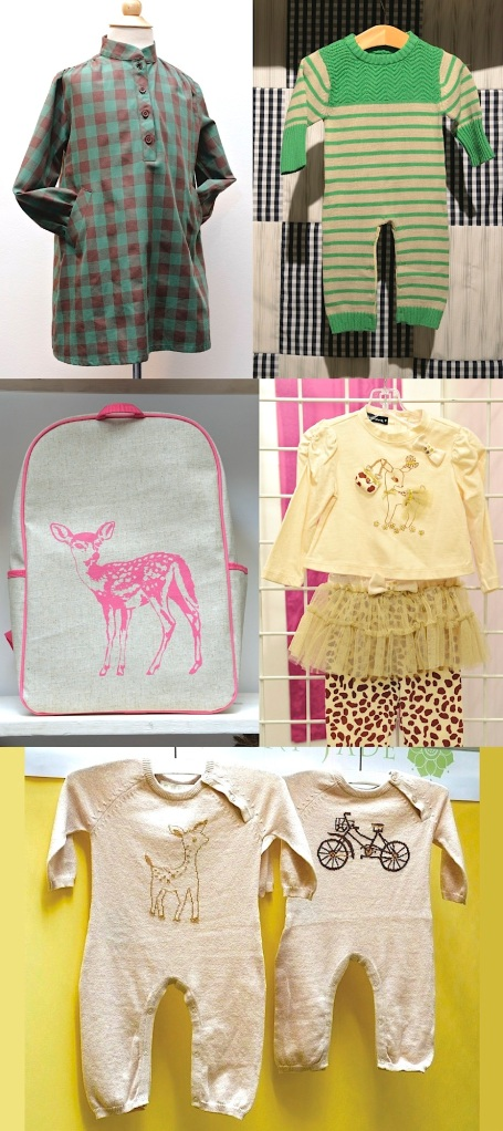 (Clockwise from top left) Marmalade and Mash dress, Hang Ten Gold playsuit, Kate Mack ensemble, Lucky Jade rompers and SoYoung backpack.