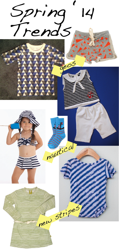 Geometric prints: Winter Water Factory tee, Noe & Zoe Berlin shorts; Nautical: Kissy Kissy set, Le Top swim, Richer & Poorer socks; Updated stripes: Poopsies one-piece, Nui Organics dress