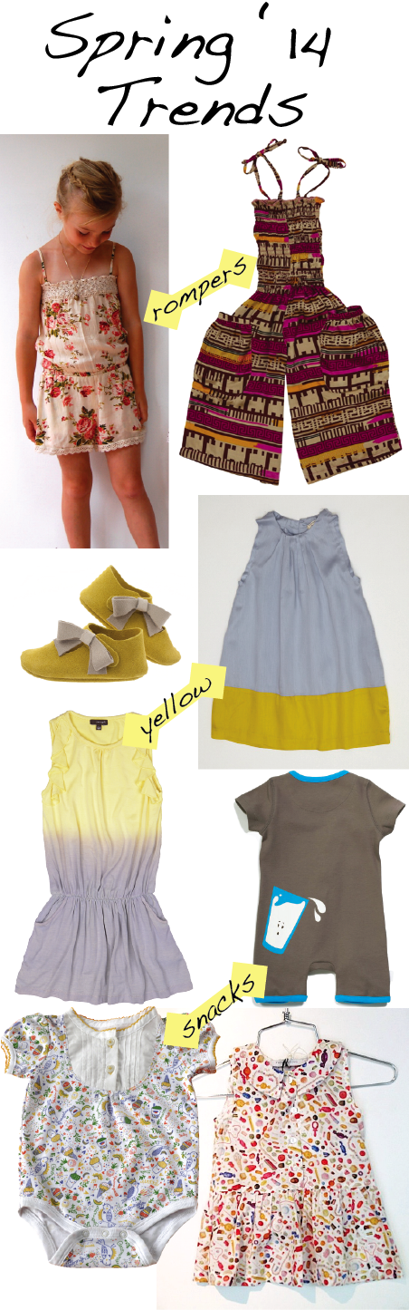 Rompers: Girl & a Mouse romper (left), Oopa romper; Yellow and Yellow & Gray: Zuzii shoes, Dagmar Daley dress, Imoga dip-dye dress; Snacks: ZipIt romper, Little Italy Kids sweet treats one-piece, P'tit Chic candy top