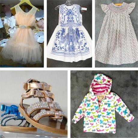Es + Es frothy confection; Halabaloo china blue dress; Bella Bliss lavender bishop; Naturino rose gold sandal; Hatley butterfly slicker