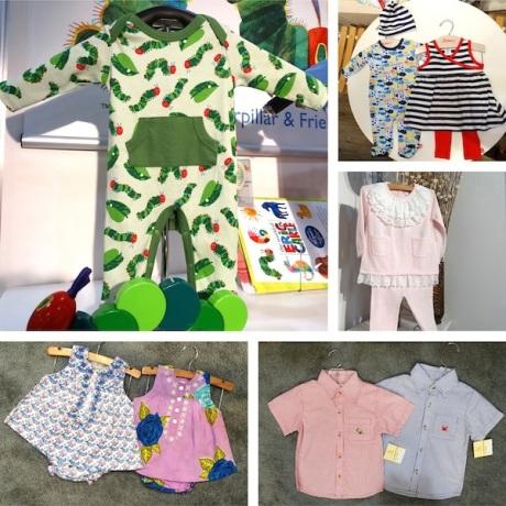 Jaxxwear Eric Carle romper; Zutano nautical duo; CeCeCo lace embellished set; Pink Chicken florals; Luigi seersucker button-downs