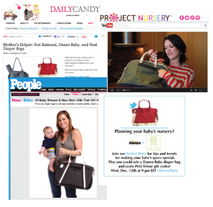 Danzo Baby diaper bags as seen in Daily Candy, Project Nursery and People magazine.