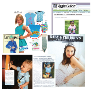 TinyTinkers children's wear brand in the press in Earnshaw's, the Giggle Guide and Baby And Children's Product News